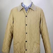 Barbour Eskdale Golden Tan Diamond Quilted Barn Field Jacket Medium Photo
