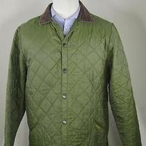 Barbour 'Eskdale' Green Diamond Quilted Barn Button Front Jacket Men's Small Photo