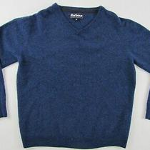 Barbour Essential Lambswool v-Neck Wool Blue Sweater Jumper Pullover M/l Photo