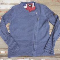 Barbour International Blue Cotton Motorcycle Sweater Union Jack Lining 12 L Photo