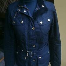 Barbour International Ladies Coat Jacket Zip Up Belt Size 8 Small Black  Photo