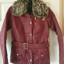 Barbour Jacket Dark Red Fur Collar Uk Size 8 Worn Once Photo