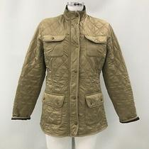 Barbour Jacket Size M Uk 12 Quilted Style Collarless Pockets Beige Casual 484474 Photo