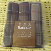 Barbour Men's Box Set of 3 100% Cotton Handkerchiefs Tartan Plaid - New in Box Photo
