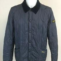 Barbour Mens Liddesdale Track Quilt Jacket Navy Blue Size Medium Kn Photo