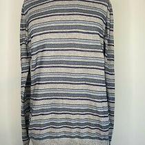 Barbour Mens Stripe Knit Jumper Size M Medium Blue Grey Sweatshirt Pullover Photo