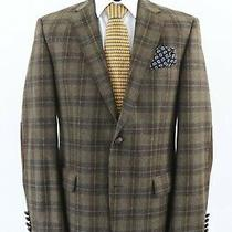 Barbour Mens Wool Check Plaid Blazer Jacket Coat Size 50 Green Leather Patches  Photo