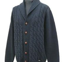 Barbour Mens Wool Kirkstone Cable Knit Shawl Cardigan Leather Trim L Navy Blue Photo