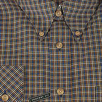 Barbour of England 175 Scotland Navy & Gold Check Cotton Casual Shirt L Large Photo