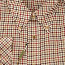 Barbour of England 175 Scotland Red Gray & Beige Check Casual Shirt L Large Photo