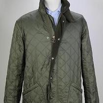 Barbour Polar Quilts Fleece Lined Green Quilted Barn Jacket Coat Long Medium Photo