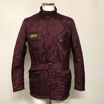 Barbour Quilted Jacket Uk M Men's Burgundy Red Funnel Neck Pockets Belted 473433 Photo