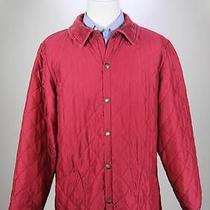 Barbour Red Diamond Quilted Plaid Lined Barn Jacket Men's Large Photo