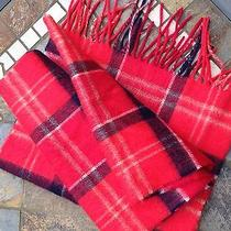 Barbour Red Tartan/check/plaid Scarf - 90% Merino Wool 10% Cashmere Photo