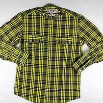 Barbour Scotland Shields Check-Yellow/black Mao Collar Slim Fit Shirt Size Lrg Photo