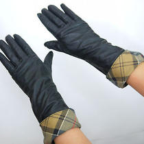 Barbour Soft Black Leather 3/4 Length Gloves With Classic Plaid trimming.uk M  Photo