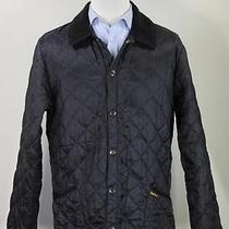 Barbour Solid Black 'Liddesdale' Diamond Quilted Barn Jacket Medium Photo