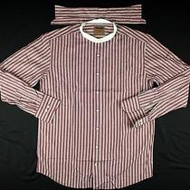 Barbour South Shields Plumb/white Striped Slim Fit Mao Collar Shirt Size Large Photo