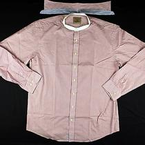 Barbour South Shields Red/white Mao Collar Removable Slim Fit Shirt Size Xl Photo