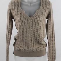 Barbour Stone Beige Cotton Cable Knit Sweater Top 10 Photo