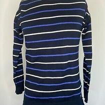 Barbour Sweatshirt Jumper Ladies Womens 10 Navy Blue White Stripe Pullover Photo