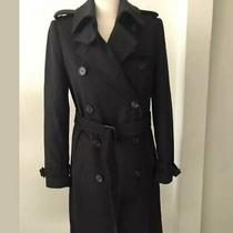 Barbour Valerie Wool Cashmere Trench Coat Jacket Navy Women 4us 8uk S Photo