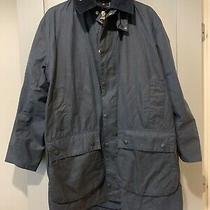 Barbour Waxed Cotton Navy Jacket Coat 42 Photo