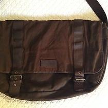 Barbour Waxed Olive Cotton & Brown Leather Messenger Bag With Computer Slot Photo