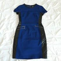 Barbour Woman Blue Stretchy Dress Faux Leather Details Size 8 Uk Immaculate  Photo