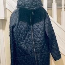 Barbour Women Quilted Jacket With Detachable Hood Navy Blue Size 18 Photo