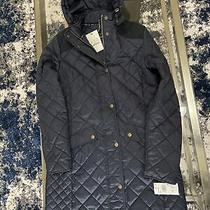 Barbour Women's Burne Navy Blue Quilted Jacket Coat Size Us 6 Photo