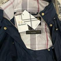 Barbour Women's Tartan Water Resistant Jacket Trench Size Us 4 Navy Hooded 310. Photo