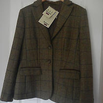 Barbour Womens Classic Clover Olive Blazer 100% Wool Rrp 279 14 Photo