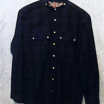 Barbours Beacon Brand South Shields Blue Black Plaid Mao Banded Collar Sz L Exc Photo