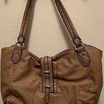 Barely Used Stella & Max Purse Handbag Camel Leather Gold Accents Hobo Style Photo