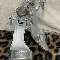 Barely Worn Sexy Womens Size 9 Metallic Silver Guess Brand Open Sandal Heels Photo