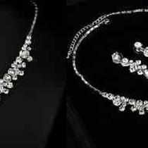 Bargain Shining Rhinestone Bridal Three Piece Earring and Necklace Jewelry Set Photo
