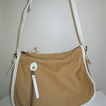Barneys New York Tan & Leather Linen Boxy Shoulder Hobo Handbag  Photo