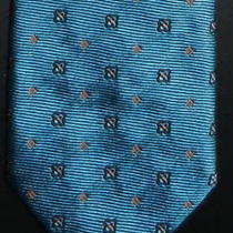 Barneys New York Necktie Stylish Aqua Blue Pattern Silk/cotton Blend Narrow Tie Photo