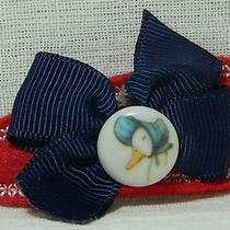  Barrette Girls Hair Accessory Handmade Felt Hair Clippie  bows& Vintage Buttons Photo