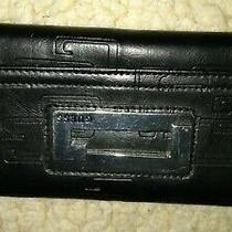 Basic Black Guess Clutch Wallet Snap Closure 13-Card Slots Zip Side Pocket Photo