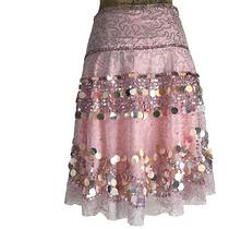 Basil & Maude Skirt 0 Xs Blush Pink Bead Sequin Silver Embellish Full Circle  Photo