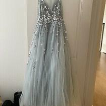 Basix Black Label Womens Blue Floral Beaded Formal Dress Gown. Size 6 Photo