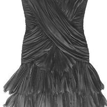 Basix Dress Mini Black Cocktail Silk Corset Above Knee Off-Shoulder  Size 4  Photo