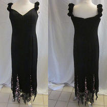 Basix Ii 100% Silk Beaded Bras Corsets Lined Formal Black Gown Dress Size 8 Photo