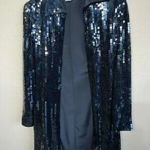 Basix Ii Black Reflective Sleek 100% Silk Dressing Jacket Women's Size 4 Photo