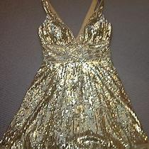Basix Ii Gold Silk Sequin Sexy Mini Dress Size 10 6 Photo