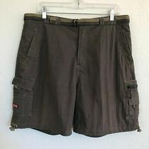 Basix Mens Belted Cargo Shorts Sz Xl/36w   Zip Pockets   Side Toggles Photo