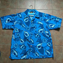 Basix Mens Size Large Blue Tropical Hawaiian Shirt  Photo