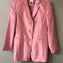 Basler 3 Button Blazer Jacket Size 10 Gb. Pink Polyester Looks Like Silk  Photo